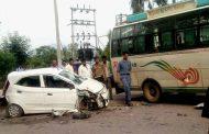 भिवंडी में कार-बस में टक्कर, चार की मौत