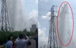 नवी मुंबई को पानी सप्लाई करने वाली पाइप लाइन टूटी , फवारे ने दिया बिजली के टावर की ऊंचाई को मात !