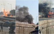 पालघर जिला : गैस सिलेंडर से भरे ट्रक में आग लगने से ट्रक और मैजिक रिक्शा जल कर हुई खाक .ट्रक चालक की मौत