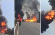 पालघर जिला : मुंबई अहमदाबाद हाइवे पर टैंकर में लगी भीषण आग, करीब 4 घंटे तक हायवे रहा बंद