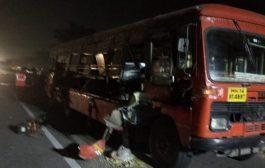 मुंबई पुणे एक्सप्रेस हाईवे पर एसटी बस दुर्घटना ग्रस्त,1 की मौत 15 घायल